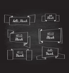 Hello march origami banners set vector