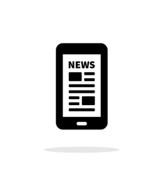 Mobile phone with news icon on white background vector image