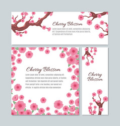sakura blossom with pink cherry flowers vector image vector image