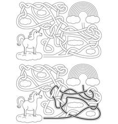 unicorn maze vector image