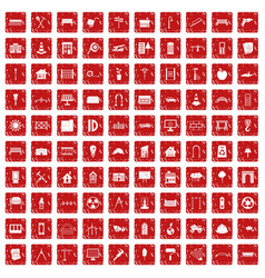 100 architecture icons set grunge red vector