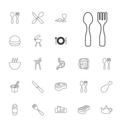 22 lunch icons vector