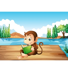 A monkey reading a book sitting at the port vector