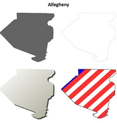 Allegheny map icon set vector