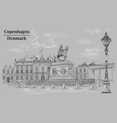 amalienborg square in copenhagen grey vector image