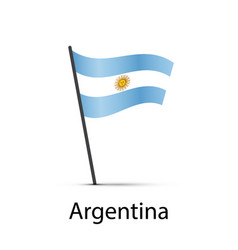 argentina flag on pole infographic element on vector image