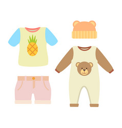 Baby clothes t-shirt and hat vector