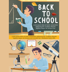 Back to school poster student in geometry class vector