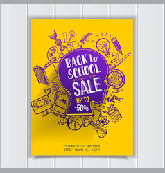 Back to school sale on kids contour poster vector