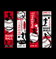 Baseball championship banners sport game playoff vector