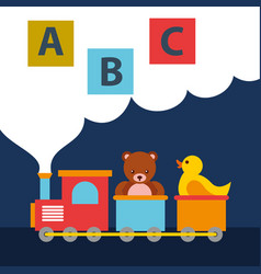 Bear teddy and duck in train wagon blocks alphabet vector
