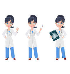 beautiful cartoon character medic set vector image