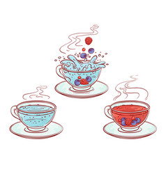 Berries drink brew process pour in transparent cup vector