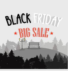 Black friday big sale with hills landscape backgro vector