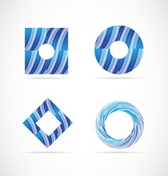 Blue logo elements icon set vector image