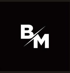 Bm logo letter monogram slash with modern logo vector