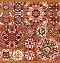 brown vintage seamless pattern with floral and vector image
