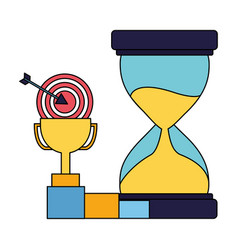 Business trophy hourglass target and chart vector