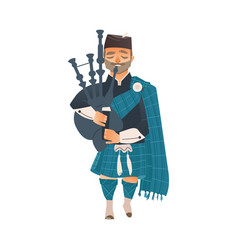 Cartoon scottish bagpiper isolated vector