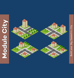 City isometric of urban infrastructure vector