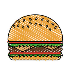 Color crayon stripe cartoon big bread hamburger vector