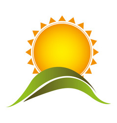 color sticker sun with mountain icon vector image