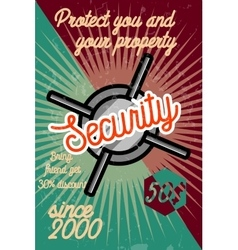 Color vintage security poster vector image