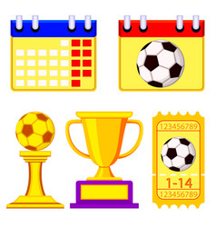 colorful soccer championship waiting elements set vector image