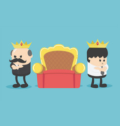 concept cartoon two businessmen vie for throne vector image