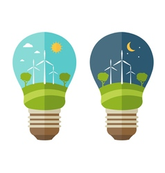 Concept of lamp with icons of ecology environment vector