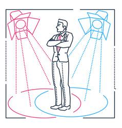 confident businessman - line design style vector image