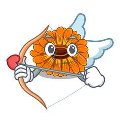 Cupid calendula flowers in the cartoon pots vector