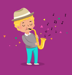 cute boy playing saxophone on purple background vector image