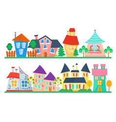 Cute cartoon houses collection funny colorful kid vector