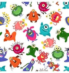 Cute seamless colorful monster pattern for vector