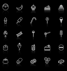 Dessert line icons with reflect on black vector image