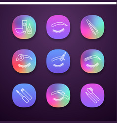 Eyebrows shaping app icons set vector