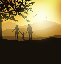 Family walking in the countryside vector image