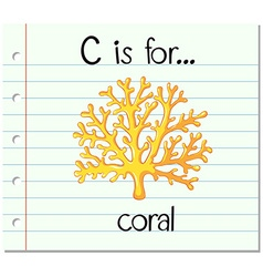 Flashcard letter C is for coral vector image