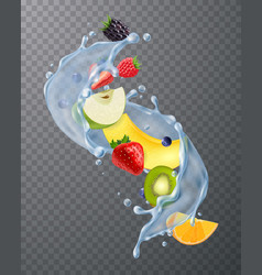 Fruit water splash transparent vector