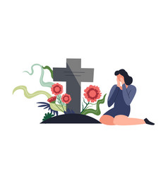 Funeral burial ceremony person sitting by vector