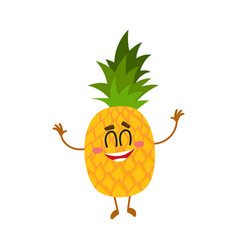 Funny pineapple character standing with raised vector