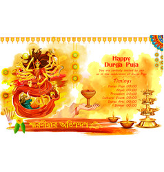 Goddess durga in happy dussehra background with vector