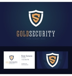Gold security logo and business card template vector