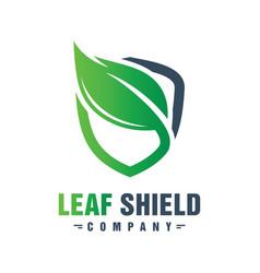 green leaf shield logo design vector image