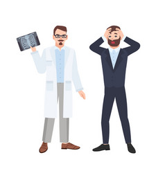 grumpy male physician or radiologist demonstrating vector image