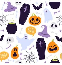 halloween seamless pattern cartoon scary ghosts vector image