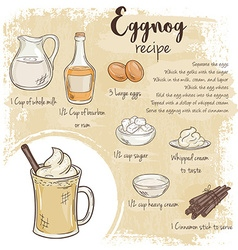 Hand drawn of eggnog recipe with list of vector