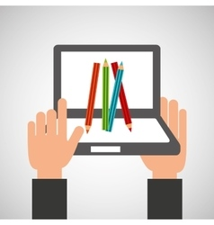 hands holds laptop-colors online education vector image