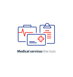 health care services thin line icon insurance card vector image